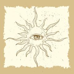 All seeing eye symbol on the sun