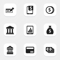 Set Of 9 Editable Investment Icons. Includes Symbols Such As Specie, Holdall, Edifice And More. Can Be Used For Web, Mobile, UI And Infographic Design.