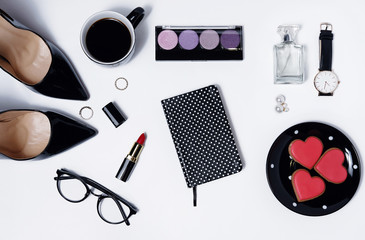Wall Mural - Workplace flatlay with women accessories, top view
