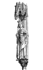 Statue of Otto I the Great Holy Roman Emperor and king of Germany with scepter, globe and crown, Magdeburg cathedral, X century