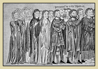 People in  procession with festive costumes, middle age representation, XII century