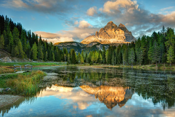 Lago Antorno, Dolomites, Lake mountain landcape with Alps peak reflection