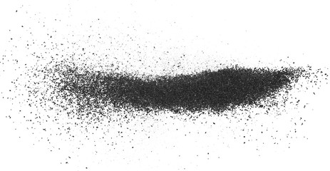 Black powder coal dust, isolated on white background