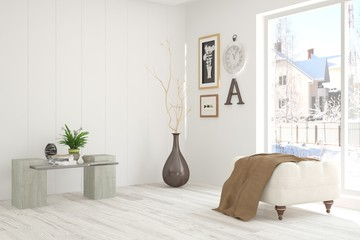 White room with chair and winter landscape in window. Scandinavian interior design. 3D illustration