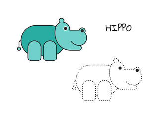 Coloring book for children, coloring page with hippo