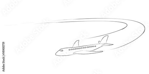 Airplane With Vapour Trails Transparent Vector Line Art Isolated On White Background