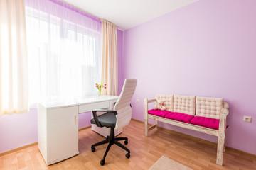 Bright Purple Children's Room in Modern Home