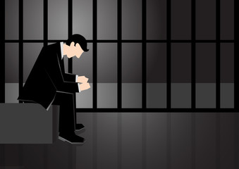 Simple business illustration of a man put in jail because of corruption