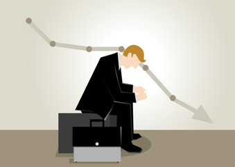 Simple business illustration of a man sit and regret of his failure at stock market