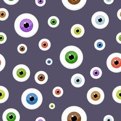 Eyes seamless pattern on blue background. Eyeballs iris concept vector illustration.