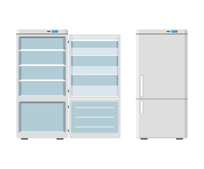 Household appliances fridge open and closed isolated on white background. Electronic device refrigerator. Home appliance freezer vector illustration.