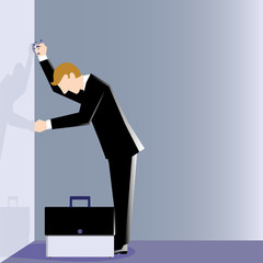 Simple business illustration of a man hit wall hard due to his failure
