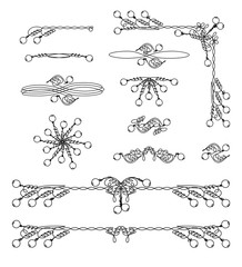 Vintage frame and scroll graphic elements set. Classical page decorations collection for your design. Vector illustration