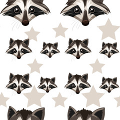 Seamless background with raccoon and star