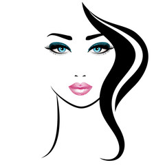 Woman's face. Vector illustration. Realistic pink lips and blue eyes with chic eyelashes