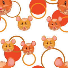 Seamless background with cute hamsters