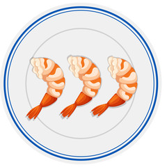 Three pieces of shrimps on round plate