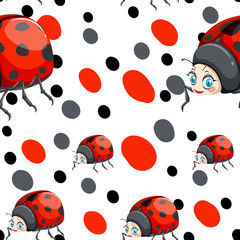 Seamless background with ladybugs and dots