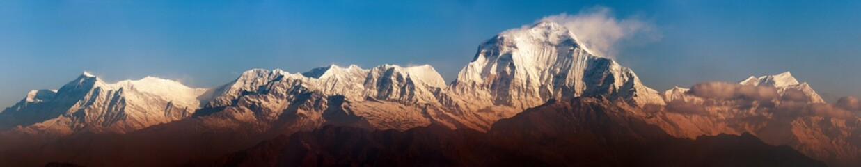 Morning panoramic view of Mount Dhaulagiri from Poon Hill