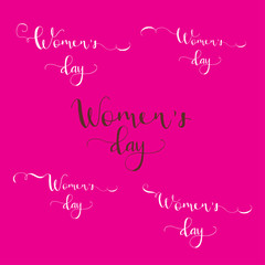 Greeting card - International Happy Women's Day. 8 March holiday background with lettering. Trendy design template for party flyer or banner. Vector illustration.