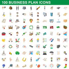 100 business plan icons set, cartoon style