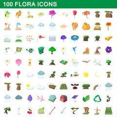 100 flora icons set, cartoon style