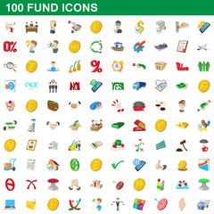 100 fund icons set, cartoon style