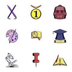 Teaching icons set, cartoon style