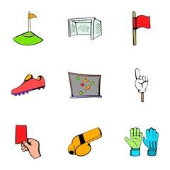 Football icons set, cartoon style