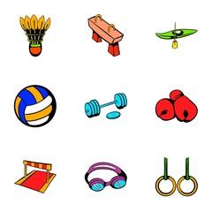 Sport activity icons set, cartoon style