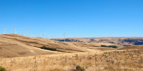 Wind power farm in Columbia River Gorge on the Oregon and Washington border.