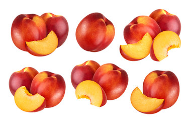 Peach isolated. Collection of nectarines isolated on white background with clipping path