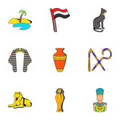 Egyptians icons set, cartoon style