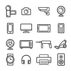 Big vector set of electrical engineering, household appliances and electronics icons in line style.