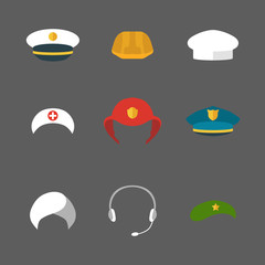 Vector set of different professions hats icons in trendy flat style.