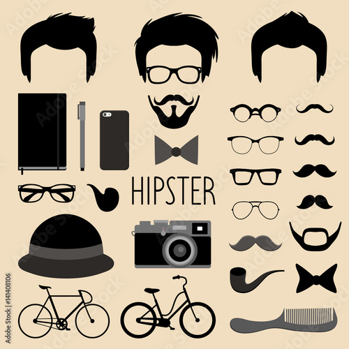 09bfddefc1e Vector set of dress up constructor with different men hipster  haircuts