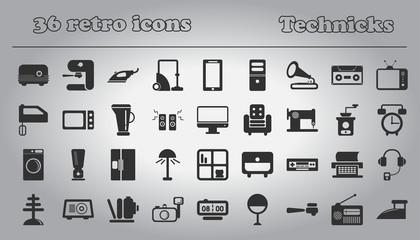 home retro appliances set. house technics Vector illustration collection