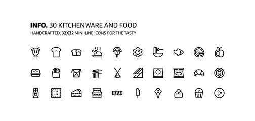 Kitchenware, foods mini line, illustrations, icons