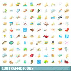 100 traffic icons set, cartoon style
