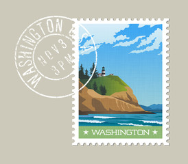 Washington State postage stamp design. Vector illustration of rugged shoreline and lighthouse. Cape Disappointment State Park. Grunge postmark on separate layer.