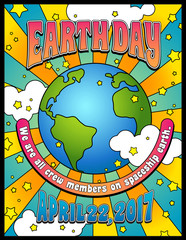 Earth Day poster, card or banner design in 1960s psychedelic style