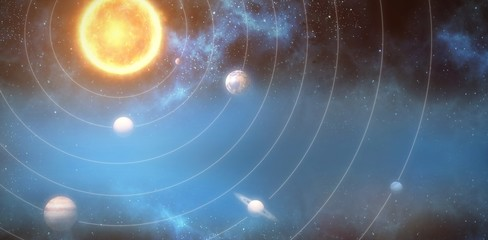 Graphic image of planets and sun 3d