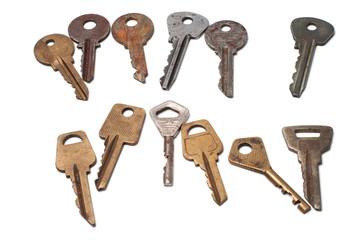 Keys of locks on a white background
