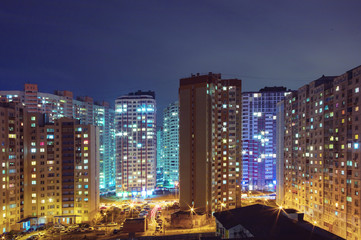 residential high buildings at night, outdoor