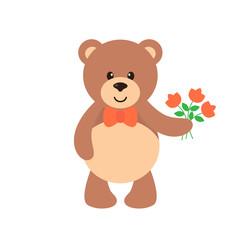 cartoon bear with flowers