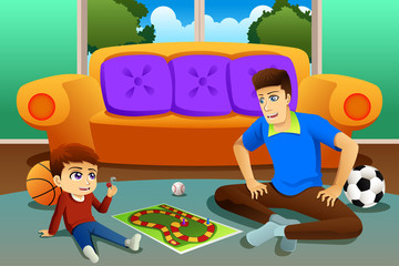Father and Son Playing Board Game at Home
