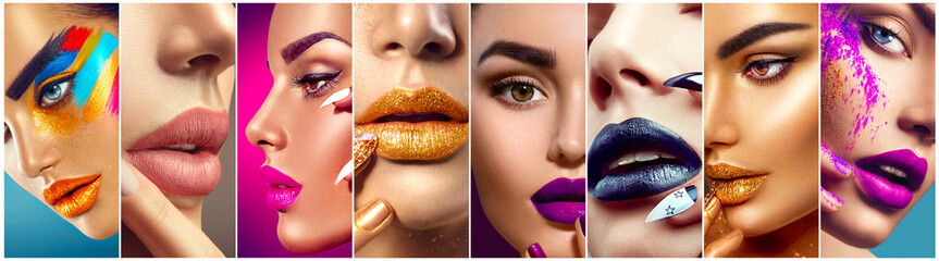 Foto auf Acrylglas Beauty Makeup collage. Beauty makeup artist ideas. Colorful lips, eyes, eyeshadows and nail art