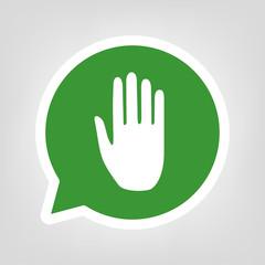 Grüne Sprechblase - Hand - Stop - Handfläche