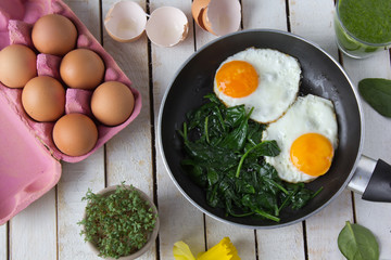fried eggs on spinach in a frying pan with cress, broken shells on the side, on white board