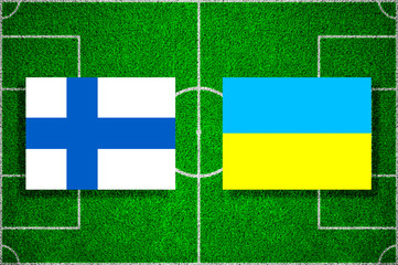 Flags of Finland - Ukraine on the football field. Football qualifying matches 2018